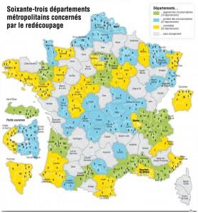 Circonscriptions électorales élections législatives 2012. Source : http://www.lefigaro.fr/politique/2009/07/28/01002-20090728ARTFIG00458-la-nouvelle-carte-electorale-pour-2012-.php