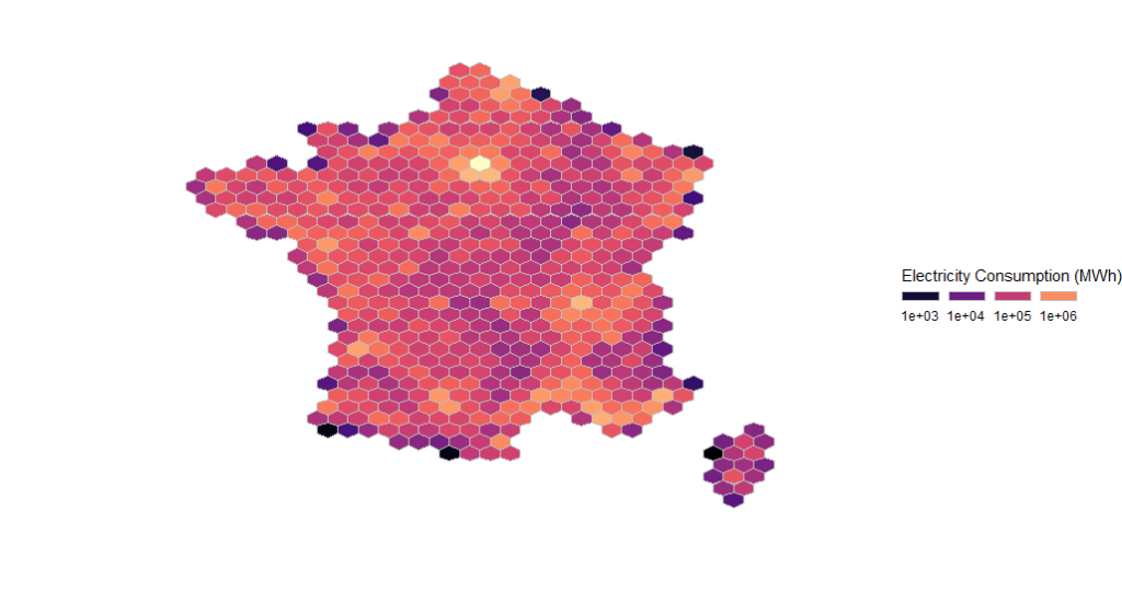 Creating an hex map of France electricity consumption